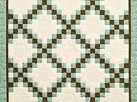 Blue Brown and Cream Irish Chain Crib Quilt