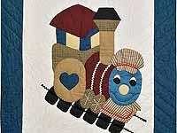 Blue and Burgundy Thomas Train Crib Quilt