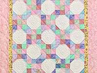 Bright Pink and Pastels Snowball Crib Quilt