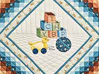 Pastel Blue ABC Crib Quilt