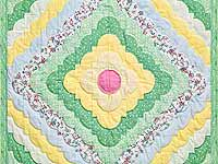 Yellow and Green Ocean Wave Crib Quilt