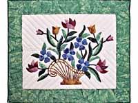 Teal Green and Multicolor Flower Basket