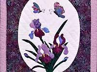 Lavender Iris Appliqué Wall Hanging