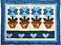 Blue Pots and Hearts Wall Hanging