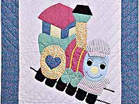 Blue and Raspberry Thomas Train Crib Quilt