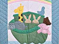 Light Blue and Pink Noah's Ark Crib Quilt