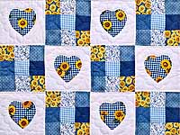 Blue and Yellow Hearts and Nine Patch Wall Hanging