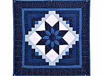 Navy and Blue Dahlia Star Log Cabin Wall Hanging