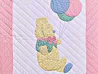 Pastel Pink Party Bear Crib Quilt