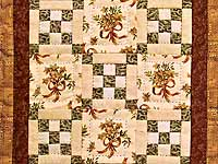 Miniature Double Nine Patch with Bouquet Quilt