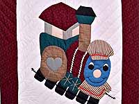 Burgundy and Navy Plaid Thomas Train Crib Quilt