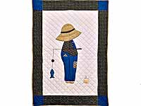 Blue and Plaid  Fisher Boy Appliqué Crib Quilt