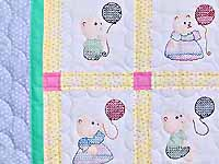 Embroidered Bears Crib Quilt