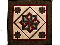 Green Burgundy and Tan Star Spin Wall Hanging