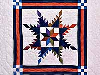 Multicolor Feathered Edge Star Crib Quilt
