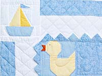 Pastel Blue and Yellow Ducks and Boats Crib Quilts