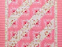 Princess Pink and Cream Log Cabin Crib Quilt