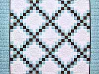 Aqua Blue Brown and Cream Irish Chain Crib Quilt