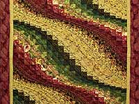Burgundy Gold and Moss Bargello Wave Wall Hanging