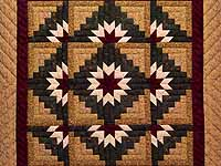 Wheat Burgundy and Green Star Burst Log Cabin Wall Hanging