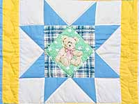 Pastel Teddy Bear Ohio Star Crib Quilt