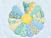 Pastel Blue and Multicolor Dresden Plates Crib Quilt