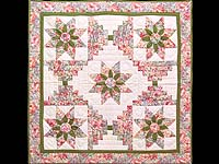 Rose and Green Dahlia Log Cabin Star Wall Hanging