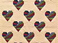 Country Colors Patchwork Hearts Wall Hanging