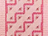 Pink Rose and Cream Log Cabin Crib Quilt