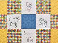 Blue Gold and Cream Embroidered Animals Crib Quilt