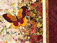 Burgundy and Gold Butterfly Journey Wall Hanging