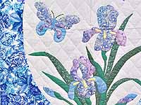 Blue and Lavender Iris Appliqué Wall Hanging