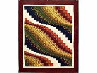 Burgundy Moss and Gold Bargello Wave Wall Hanging