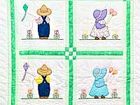 Green Sunbonnet Sue & Bill Crib Quilt