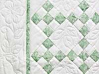 Green and Cream Nine Patch Crib Quilt