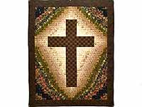 Brown Green and Rose Watercolor Cross Wall Hanging