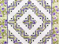Lavender and Willow Green Log Cabin Crib Quilt