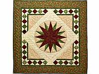 Green and Burgundy Compass Star Wall Hanging