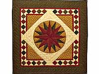Moss Green and Burgundy Compass Star Wall Hanging