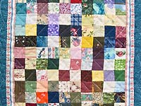 Miniature Multicolor Postage Stamp Quilt