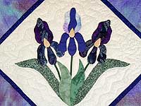 Lavender Iris Appliqued Wall Hanging