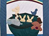 Blue and Red Noah's Ark Crib Quilt