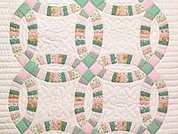 Fine Pink Green and Pastel Double Wedding Ring Crib Quilt