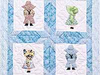 Blue Sunbonnet Sue & Bill Crib Quilt