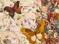 Golden Tan Butterfly  Journey -- Watercolor Wall Hanging
