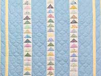 Pastel Blue and Yellow  Flying Geese Crib Quilt