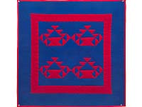 Miniature Indiana Amish Baskets in Red and Blue Wall Hanging