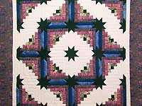 Rose Dark Green and Blue Colorado Log Cabin Throw