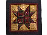 Navy Burgundy and Tan Log Cabin Star Wall Hanging