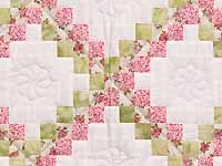 Rose Green and Cream Irish Chain Crib Quilt